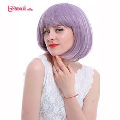 L-e-posta peruk 16 Renkler Moda Kadın Peruk Isıya Dayanıklı Sentetik Saç peruca Pembe Yeşil Kırmızı Mor Sarışın Kısa BOB Peruk