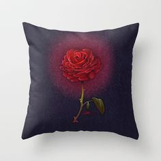 Beauty and the Beast - Enchanted Rose Throw Pillow by Teo Hoble - $20.00