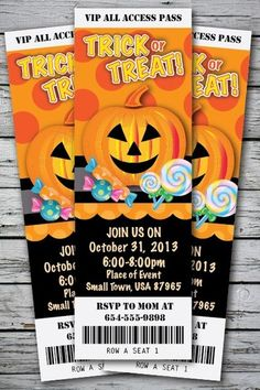 Trick-or-Treat Halloween Birthday Party Invitation TICKET Stub Costume Pumpkin Halloween Birthday Party Invitations, Printable Birthday Invitations, Printable Party, Invitation Ideas, Halloween Treats, Halloween Decorations, Halloween Party, Party Hacks, Party Ideas