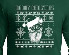 Meowy Christmas Ugly Sweater design cat lover,Long Sleeve t- shirt, Cat Lady , Christmas Gift,ugly Christmas sweater, Christmas t shirt, fun