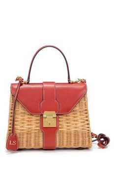 Monogrammable hadley rattan bag in red saffiano leather by MARK CROSS Preorder Now on Moda Operandi