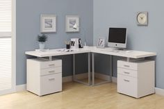 Features:  -L-shaped provides ample work space.  -2 File drawers accommodates letter or legal files.  -Filing drawers includes hardware to hold hanging files.  Desk Type: -Computer desk.  Top Color: -