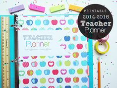 2014-2015 Teacher Planner PDF Printable Planner Pages - INSTANT DOWNLOAD - Teaching, Lesson Planner, Lined Dated Calendar, Divider Tabs, Back to School