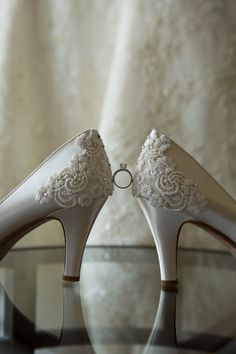 Bridal shoes with engagement ring