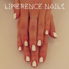 white and rose gold reverse french manicure