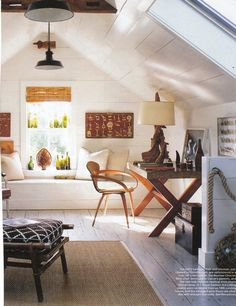 cozy attick, i like the bench seat / couch idea under the window for reading or looking out