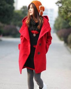 Red Long Sleeve Big Lapel One-Breasted Big Cotton Hooded Woolen Coat Indressme$38.25