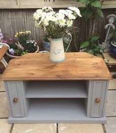 Lovely Shabby Chic Pine Corner Tv Unit Painted In Annie Sloan Paris Grey