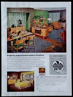 1954 Heywood Wakefield Modern Furniture Magazine Ad