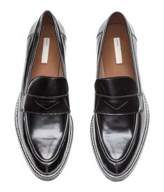 b4f07f89183cb Leather loafers with pointed toes and a tab across front.