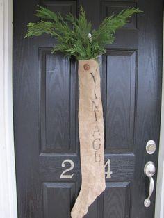VINTAGE Handmade Burlap Christmas Stocking