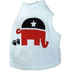 HAHAHA @Overstock - Canine tank top by Ruff Ruff and Meow  Pet apparel puts an end to questions about your dog's political leanings  Dog clothing features Republican Party's elephant logo with small doggie pawshttp://www.overstock.com/Pet-Supplies/Ruff-Ruff-and-Me-Republican-Dogs-Tank-Top/3666731/product.html?CID=214117 $18.95