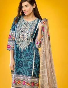 Khaadi Blue Pakistani Cotton Lawn Suit With Chiffon  Dupatta E15516