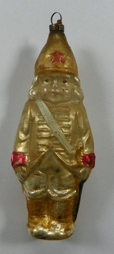 Early Soldier Boy Glass Christmas Ornament