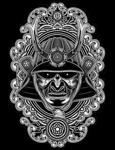 traditional japanese tattoo, line work, geisha Samurai Mask Tattoo, Demon Tattoo, Dark Tattoo, Guardian Tattoo, Samurai Artwork, Fu Dog, Traditional Japanese Tattoos, Japanese Artwork, Asian Tattoos