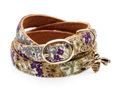 "CINDERELA B Liberty Print ""Plum"" Leather Wrap Wristband Bracelet & choice of Charm 