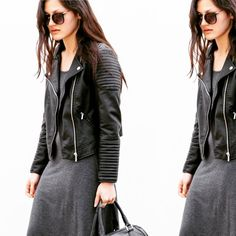 Biker Chic // Fashion blogger @thefashannmonster out and about with her #MinskatMira bag #blackleather #danishdesign #minimalism