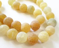 Yellow Agate Round Beads Yellow Frosted Matte by BijiBijoux