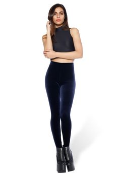 Size Small - $60.00 Velvet Deep Blue High Waisted Leggings – Black Milk Clothing