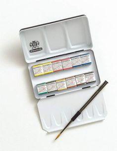 Schmincke Horadam Aquarell Half-Pan Paint Metal Compact Set with Brush, Set of 12 Colors
