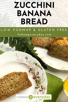 Low FODMAP Zucchini Banana Bread is a mash-up of two very popular quick breads – zucchini bread and banana bread. The batter can be prepared in the time it takes for the oven to preheat. #dairyfree #glutenfree #vegetarian #easyrecipe #lowfodmapbananabread #lowfodmapdiet#fodmap #lowfodmap #fodmapeveryday #ibs #ibsdiet Banana Zucchini Muffins, Zucchini Bread, Fodmap Diet, Low Fodmap, Fodmap Recipes, Healthy Recipes, Dairy Free Diet, Clean Eating Breakfast, Baking Flour