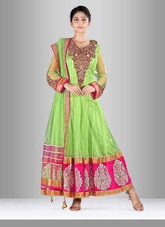 Add grace and charm for your appearance in this net anarkali suit. Look…