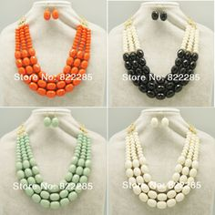 Wholesale  Fashion Classic Statement Necklaces  Acrylic Chunky Choker Necklace For Women With Earring   7038