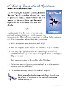 Mockingjay acts of kindness Fun Classroom Activities, Classroom Freebies, Classroom Ideas, Ela Classroom, Ninth Grade, Seventh Grade, Too Cool For School, School Stuff, Teaching Resources
