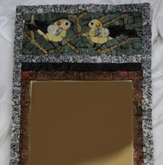 stone mirror with birds, size 30x63cm