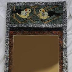 stone mirror with birds, size 30x63cm