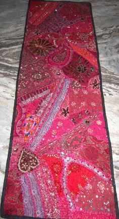 Indian hand embroidered beaded work table runner tapestry wall hanging ethnic art home decoration