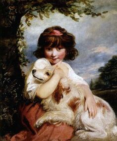 A Young Girl and her Dog Joshua Reynolds (English artist, 1723-1792)