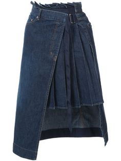 denim pleated panel wrap skirt