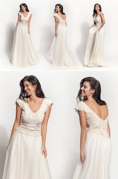 """""""Andromeda"""" vintage wedding dress. In Atelier Zolotas, we choose authentic vintage charm. Handmade is the essence of our philosophy in our boho bridal gowns."""