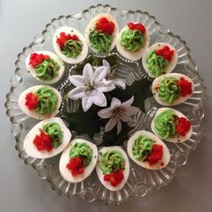 "Christmas-themed deviled eggs ~ The Food of ""The Astronaut Wives Club"" on ABC - Bon Appétit Christmas Appetizers, Appetizers For Party, Appetizer Recipes, Retro Recipes, Vintage Recipes, Ethnic Recipes, The Astronaut's Wife, The Astronaut Wives Club, Decoration Entree"