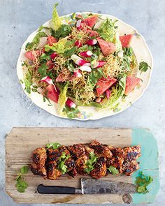 Jamie Oliver 15 Minute Meal - Sticky Kickin Chicken with Watermelon Salad. So yummy.