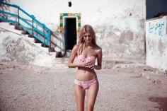 Pink ruffled bikini #swimsuit #summerswim