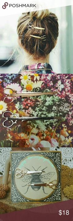 Scissor Pin Set >alloy >new >listing is in gold tone ** silver available in closet or just comment request** //UNBRANDED-LISTED FOR EXPOSURE// ASOS Accessories Hair Accessories