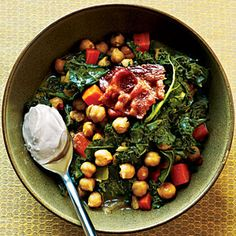 From Cooking Light: Garbanzo Beans and Greens    This is SOOOOOOOOOO good!!!!  The bacon just makes it incredible. They're right about the baguette; definitely serve it with the dinner.  I tried this without the yogurt. Bet it'd make it even better!