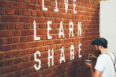 Live Learn and Share Stable Cafe, Living Spaces Furniture, Painting Tile Floors, Wall Writing, Live And Learn, You Dont Say, Soul Searching, Art For Art Sake, Typography Quotes