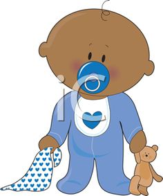 Royalty Free Clipart Image of a Baby Boy With a Soother Blanket and Teddy Bear