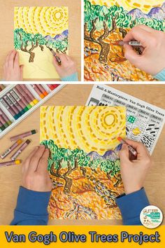 Learn art history while creating a Van Gogh olive trees drawing. Fill up your art sub plan folder with no-prep, Post-Impressionism art projects that are easy to implement for kids. Great for arts integration, homeschooling parents, and art teachers wanting to liven up their art lessons with an art game.   Glitter Meets Glue #art #artlesson #arthistory #vangogh #artlesson