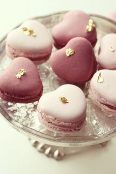 Heart shaped Valentine macarons ... with a bit of pure gold.