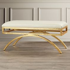 Features: -Design: Arc. Bench Type: -Entryway bench. Seat Material: -Faux Leather. Finish: -White/Gold. Style (Old): -Modern. Pattern: -Solid. Dimensions: Overall Height - Top to Bottom: -17.5""