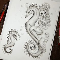 Vintage inspired mermaid riding a dreamy seahorse. Drawing in  progress. Original Art by Claudette Barjoud, a.k.a Miss Fluff. www.missfluff.com mermaids, mermaid art, mermaid decor, mermaid style, mermaid life, vintage mermaid illustration