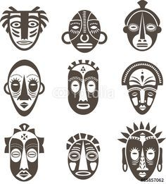 "Download the royalty-free vector ""African masks set"" designed by Marina Zlochin at the lowest price on Fotolia.com. Browse our cheap image bank online to find the perfect stock vector for your marketing projects!"