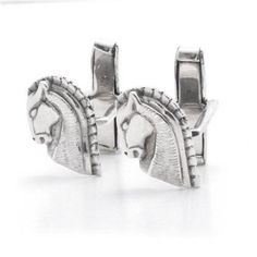 Bling Mens 925 Sterling Silver Horse Portrait Equestrian Cufflinks