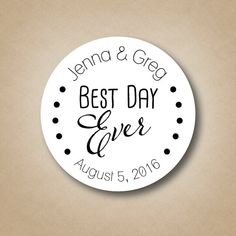 Best Day Ever Custom Wedding Favor Stickers by StickEmUpLabels