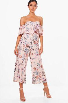 e9c93c59a40 Boohoo Floral Print Off The Shoulder Culotte Jumpsuit Size UK 14 DH182 MM  08  fashion