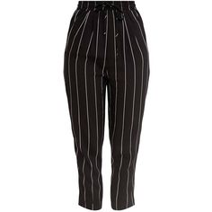 Diya Black Pinstripe Casual Trousers ($30) ❤ liked on Polyvore featuring pants, diya, pinstripe trousers and pinstripe pants